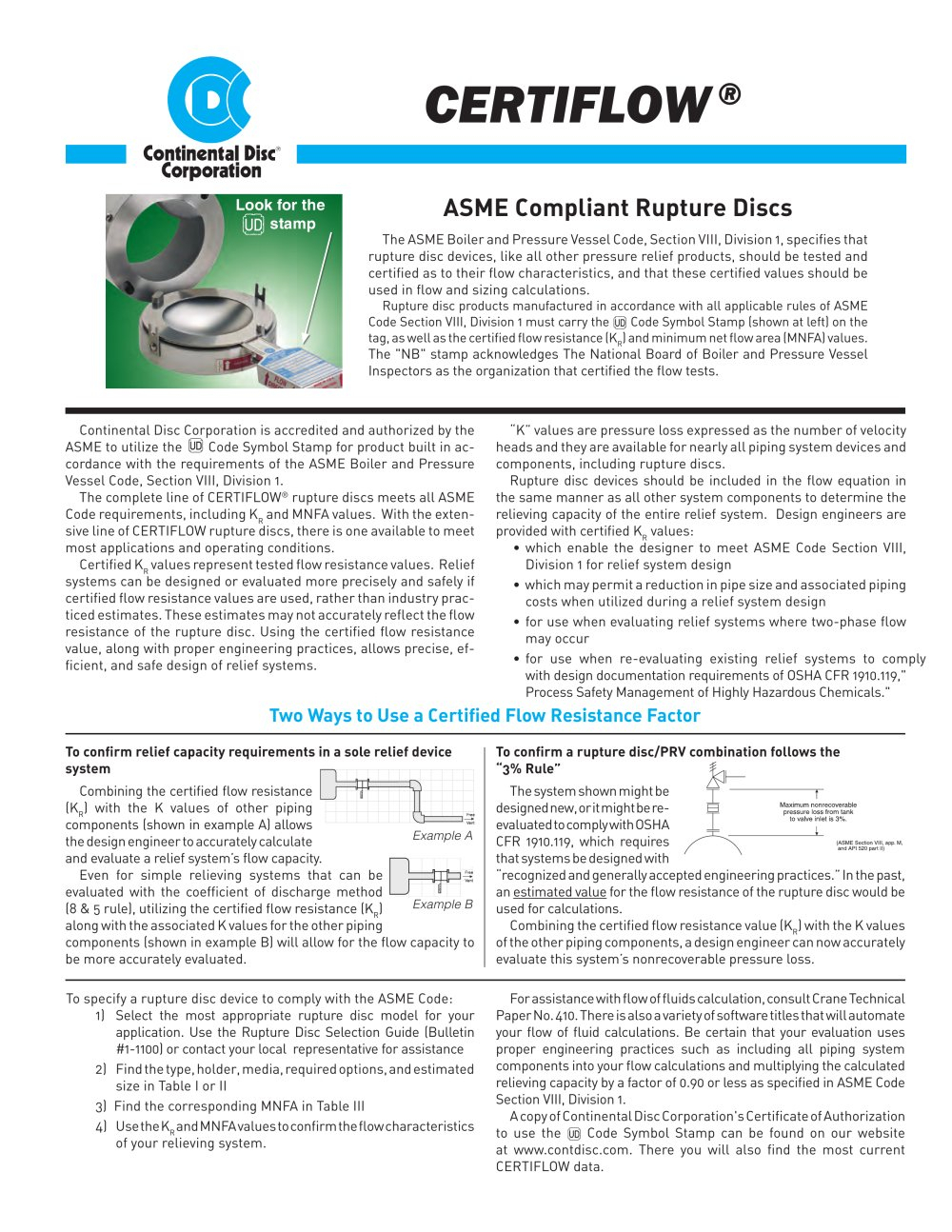 Rupture Disc Sizing Spreadsheet With Certiflow ®  Continental Disc Corp.  Pdf Catalogs  Technical