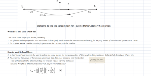 Sag And Tension Calculation Spreadsheet Inside Towline Static Catenary Calculator  Thenavalarch