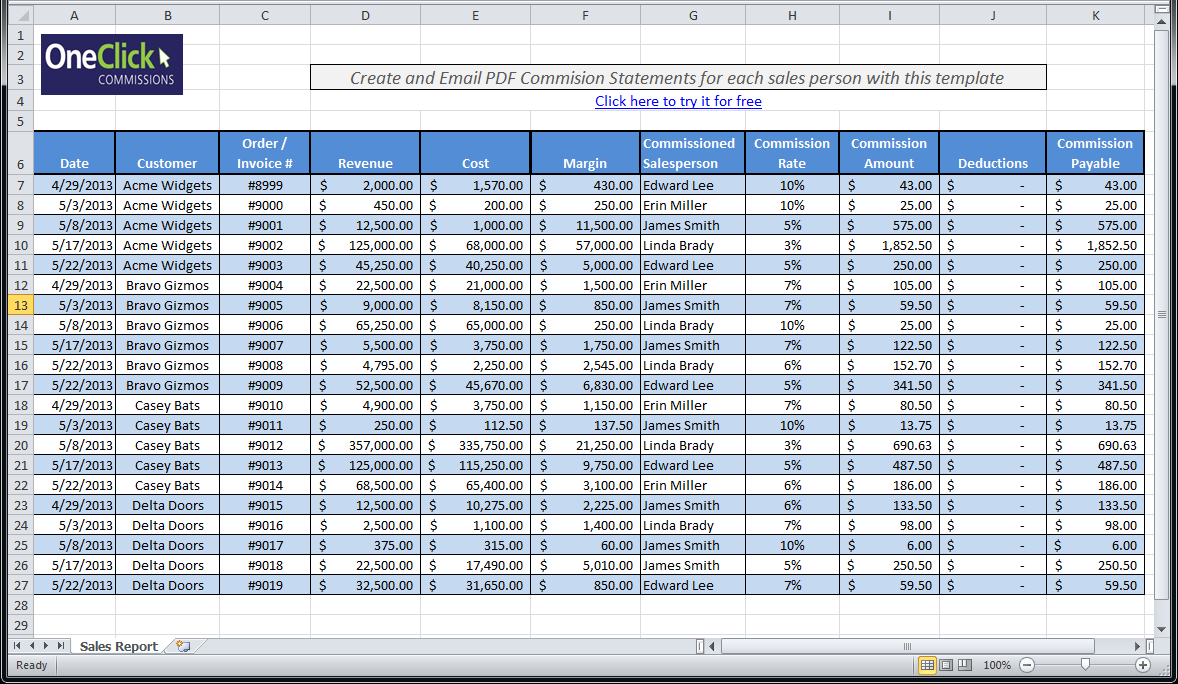 Sales Commission Spreadsheet Template Intended For Free Excel Templates For Payroll, Sales Commission, Expense Reports
