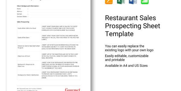 Sales Prospecting Spreadsheet Templates In Restaurant Sales Prospecting Sheet Template In Word, Excel, Apple