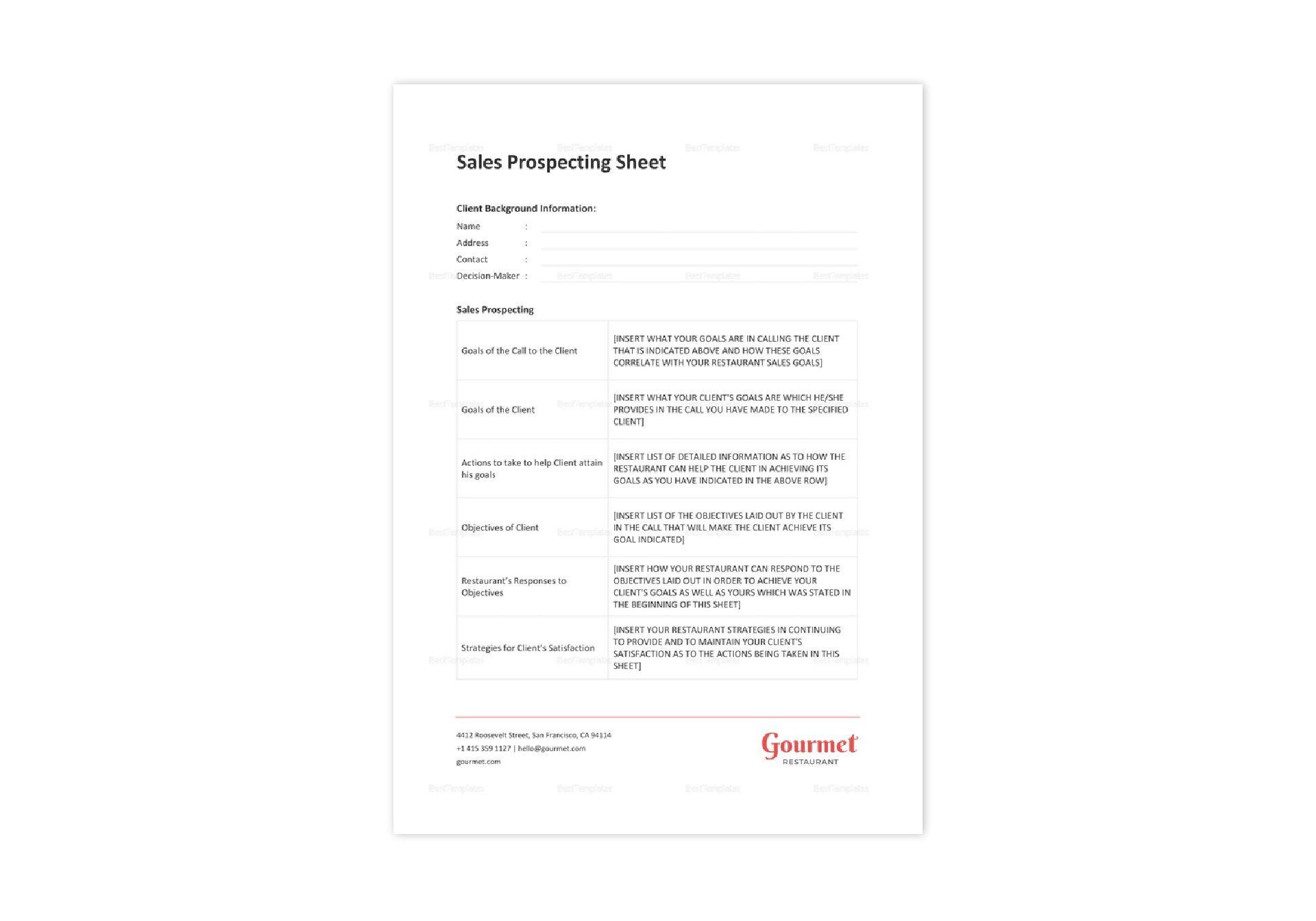 Sales Prospecting Spreadsheet Templates Inside Restaurant Sales Prospecting Sheet Template In Word, Excel, Apple