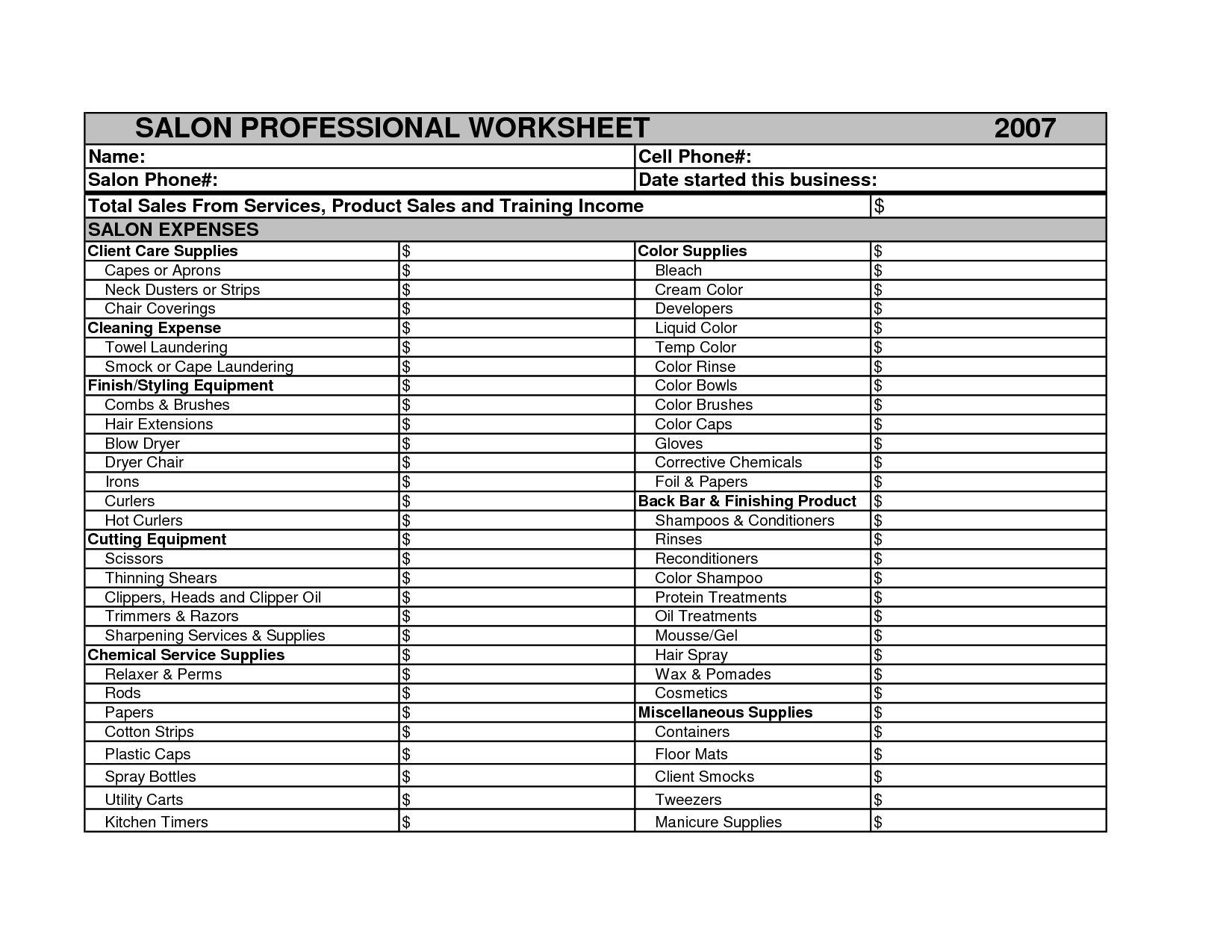 Salon Expenses Spreadsheet In Hair Stylist Income Spreadsheet Salon Budget Worksheet Photos High