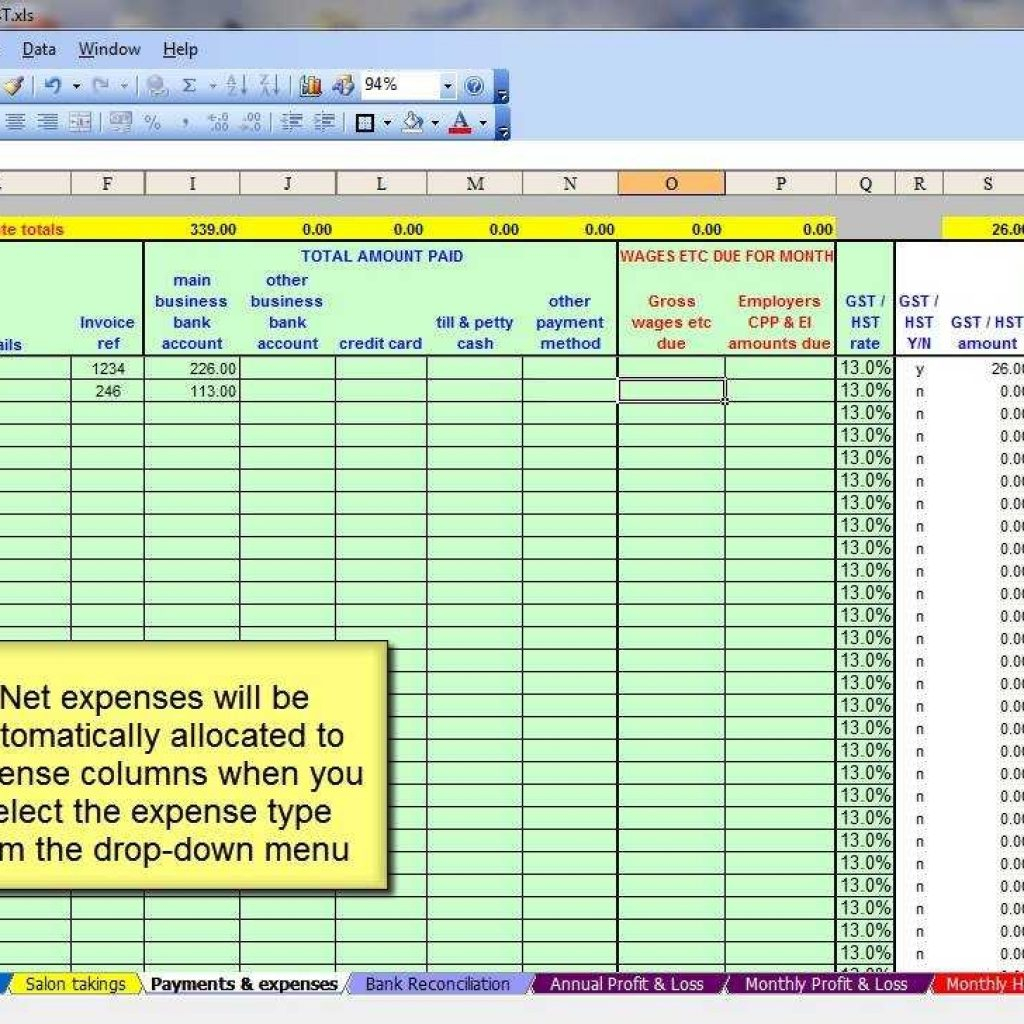 Salon Spreadsheet Template Within Canadian Salon  Gst,hst Accounting Spreadsheet  Youtube With