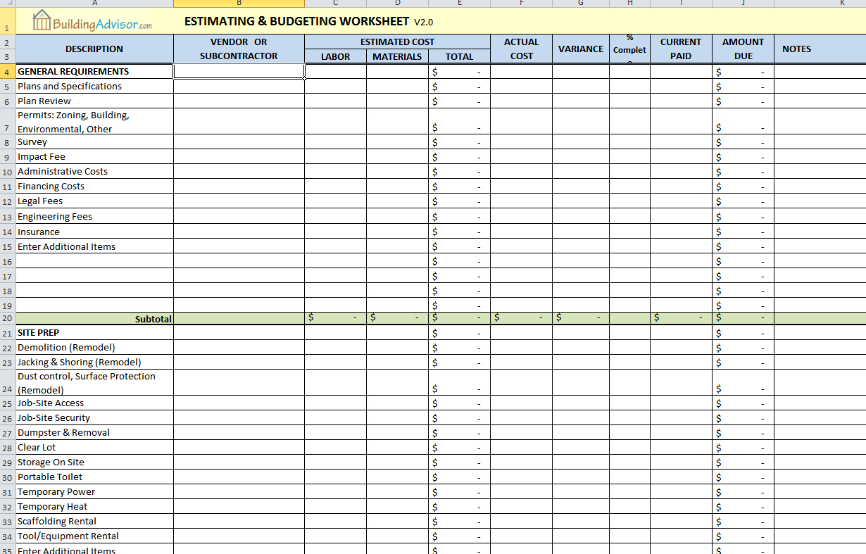 Sample Construction Estimate Spreadsheet Regarding Construction Estimating Worksheets Excel Free Quantities And