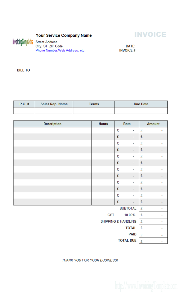 Sample Invoice Spreadsheet Intended For General Invoice Templates In Excel  20 Results Found