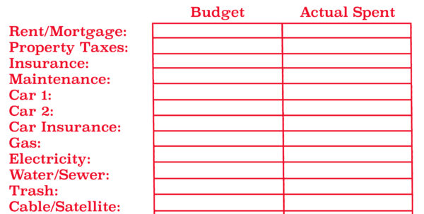 Sample Monthly Budget Spreadsheet Inside Getformtemplates Monthly Budget Worksheet Reference Budget