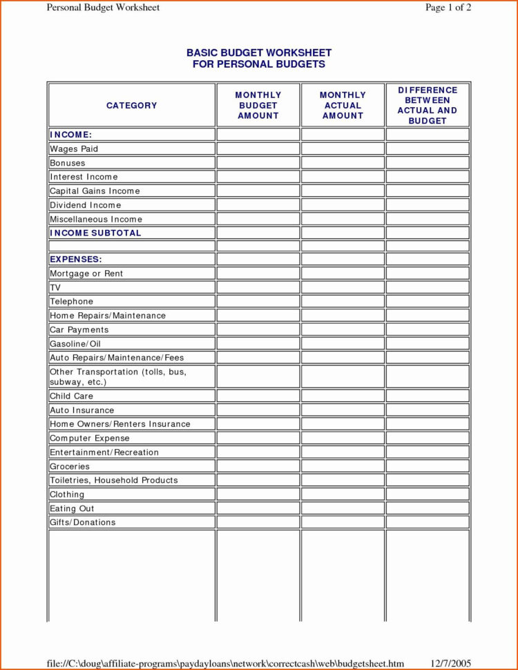 Sample Monthly Budget Spreadsheet Throughout Monthly Budget Worksheet Printable  Briefencounters Worksheet
