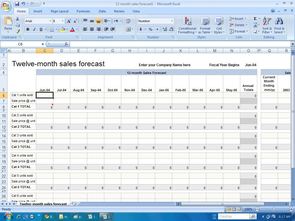 Sample Sales Forecast Spreadsheet With Spreadsheet Cash Flow Template Month Sales Forecast Example Year