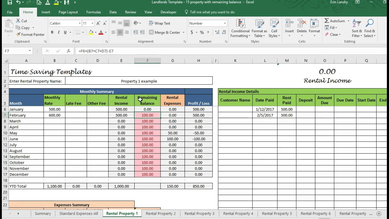 Sample Spreadsheet For Rental Property Throughout Example Of Rental Property Management Spreadsheet Template