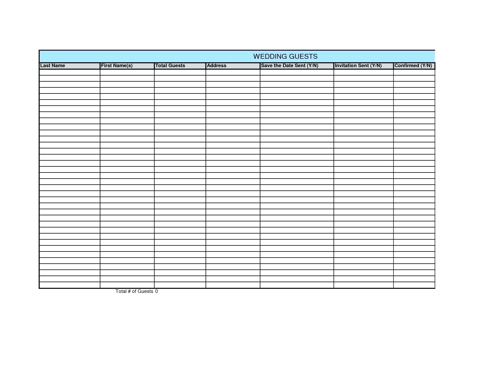 Sample Wedding Guest List Spreadsheet For Event Guest List Template Knowing Excel Template Guest List Ideal