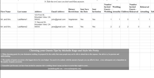 Sample Wedding Guest List Spreadsheet With Regard To 7 Free Wedding Guest List Templates And Managers