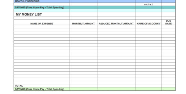 Savings Account Spreadsheet Throughout The One Week Budget Templates  The Budgetnista