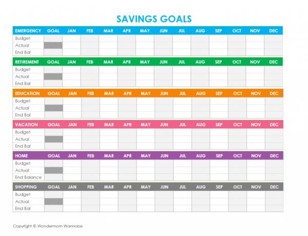 Savings Goal Spreadsheet Inside Free Printable Family Budget Worksheets