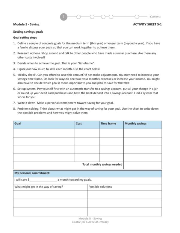 Savings Goal Spreadsheet Within Activity Sheet 51 Setting Savings Goals