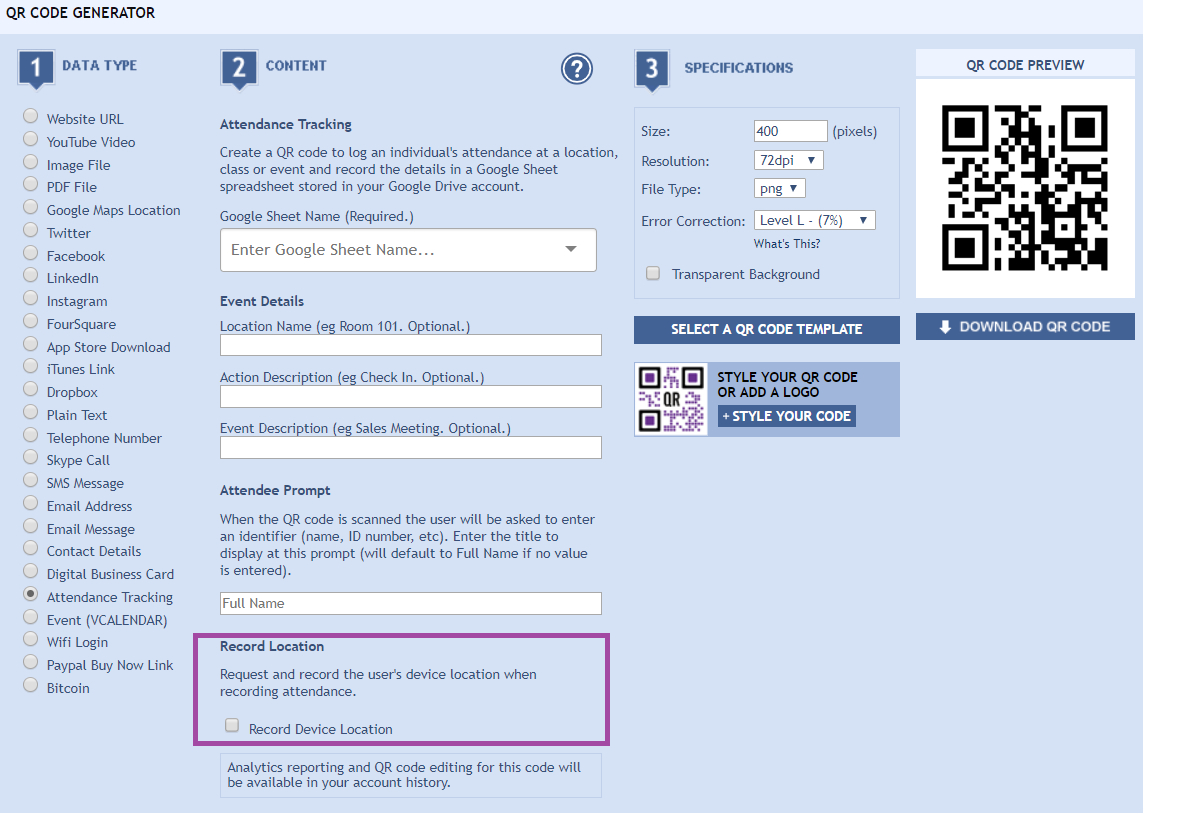 Scan Qr Code To Spreadsheet With Qr Codes For Attendance Tracking  Qrstuff