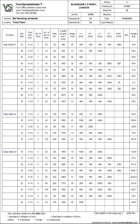 Schedule Spreadsheet With Bar Bending Schedule Spreadsheet To Bs 8666