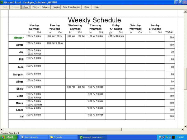 Scheduling Spreadsheet Free Pertaining To Employee Schedule Template Free Download And Employee Scheduling