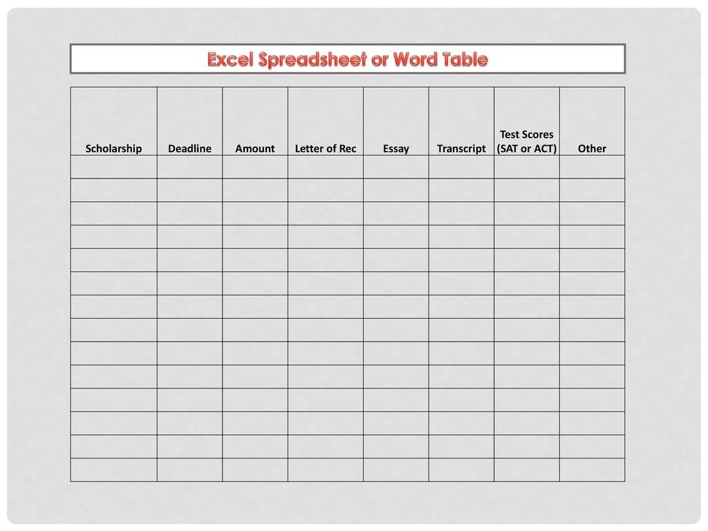 Scholarship Spreadsheet With Regard To List Of Scholarships Offered And  Ppt Download