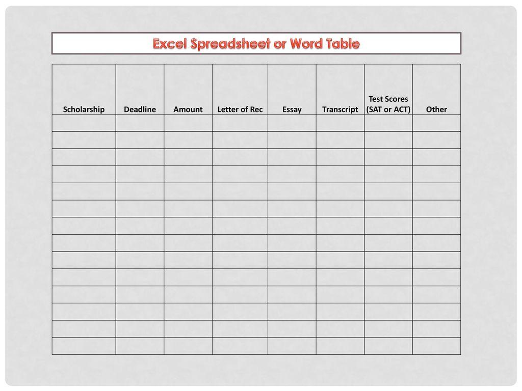 scholarship spreadsheet google spreadshee scholarship