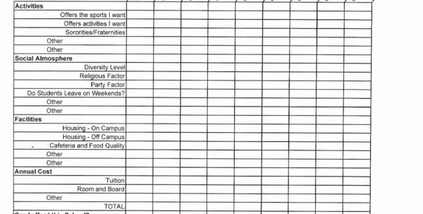 School Comparison Spreadsheet For College Comparison Worksheet Picture Of College Comparison