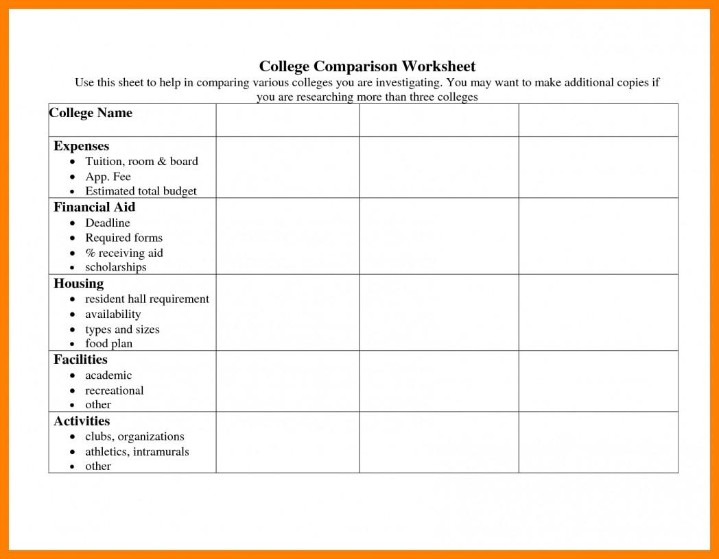 School Comparison Spreadsheet Throughout College Cost Comparison Spreadsheet  Kayakmedia.ca