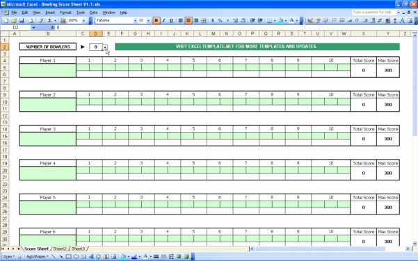 Score Spreadsheet Within Bowling Spreadsheet For Bowling Score Sheet – Theomega.ca