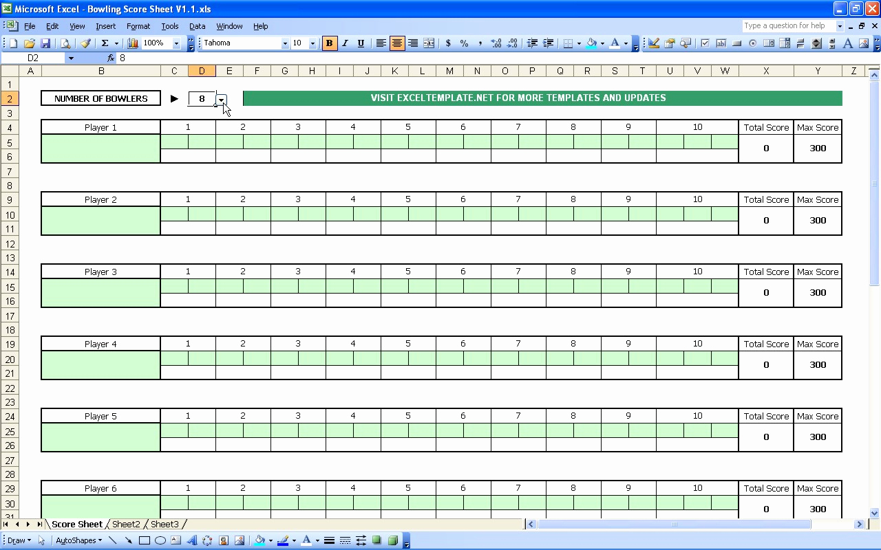 Score Spreadsheet Within Bowling Spreadsheet For Bowling Score Sheet – Theomega.ca