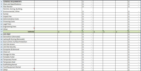 Self Build Spreadsheet Template Within Home Building Cost Spreadsheet  Aljererlotgd