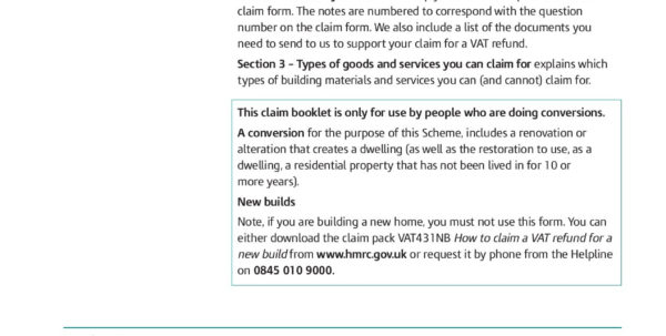 Self Build Vat Reclaim Spreadsheet Regarding How To Claim A Vat Refund For Converting An Existing  Pages 1