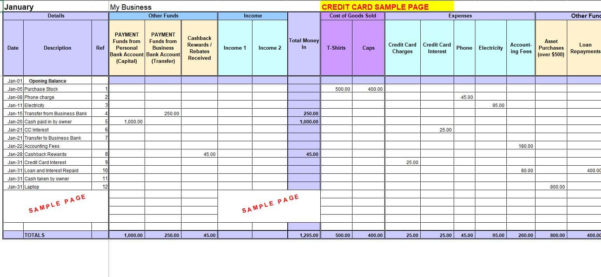 Self Employed Record Keeping Spreadsheet Inside Free Excel Bookkeeping Templates