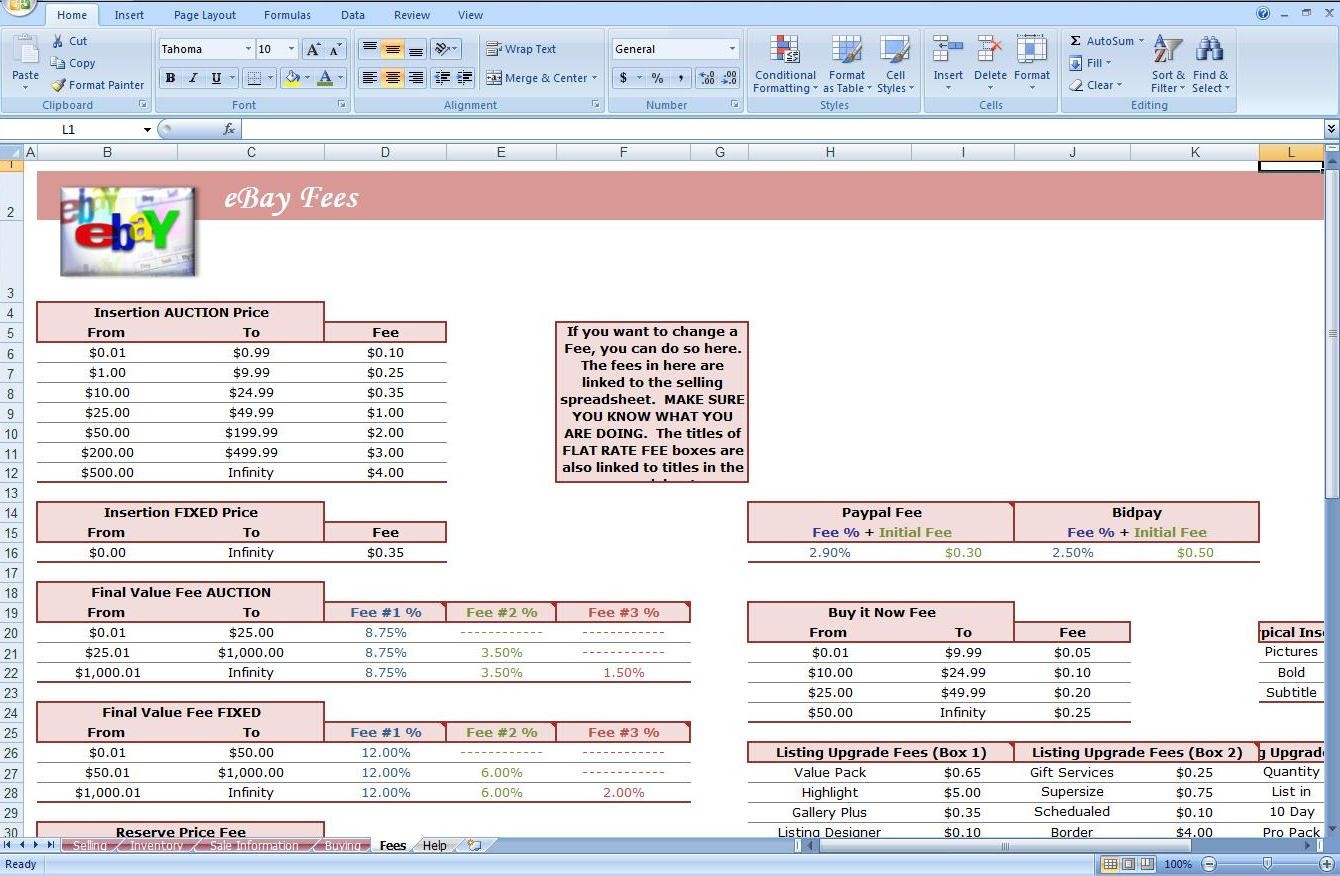Selling Excel Spreadsheets In Ebay Inventory Excel Template  Austinroofing