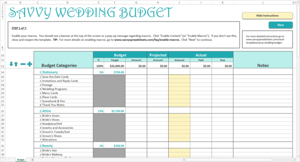 Setting Up A Budget Spreadsheet For How To Use The Savvy Wedding Budget  Savvy Spreadsheets