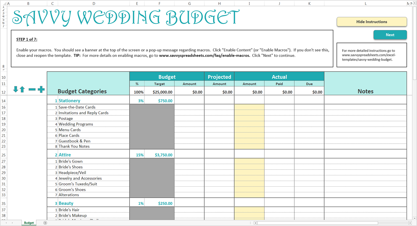 Setting Up An Excel Spreadsheet For Finances Inside How To Use The Savvy Wedding Budget  Savvy Spreadsheets