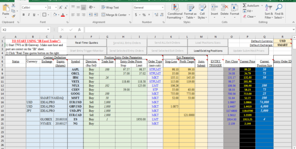 Share Excel Spreadsheet Inside Interactive Brokers Excel Trader  Trading Geeks