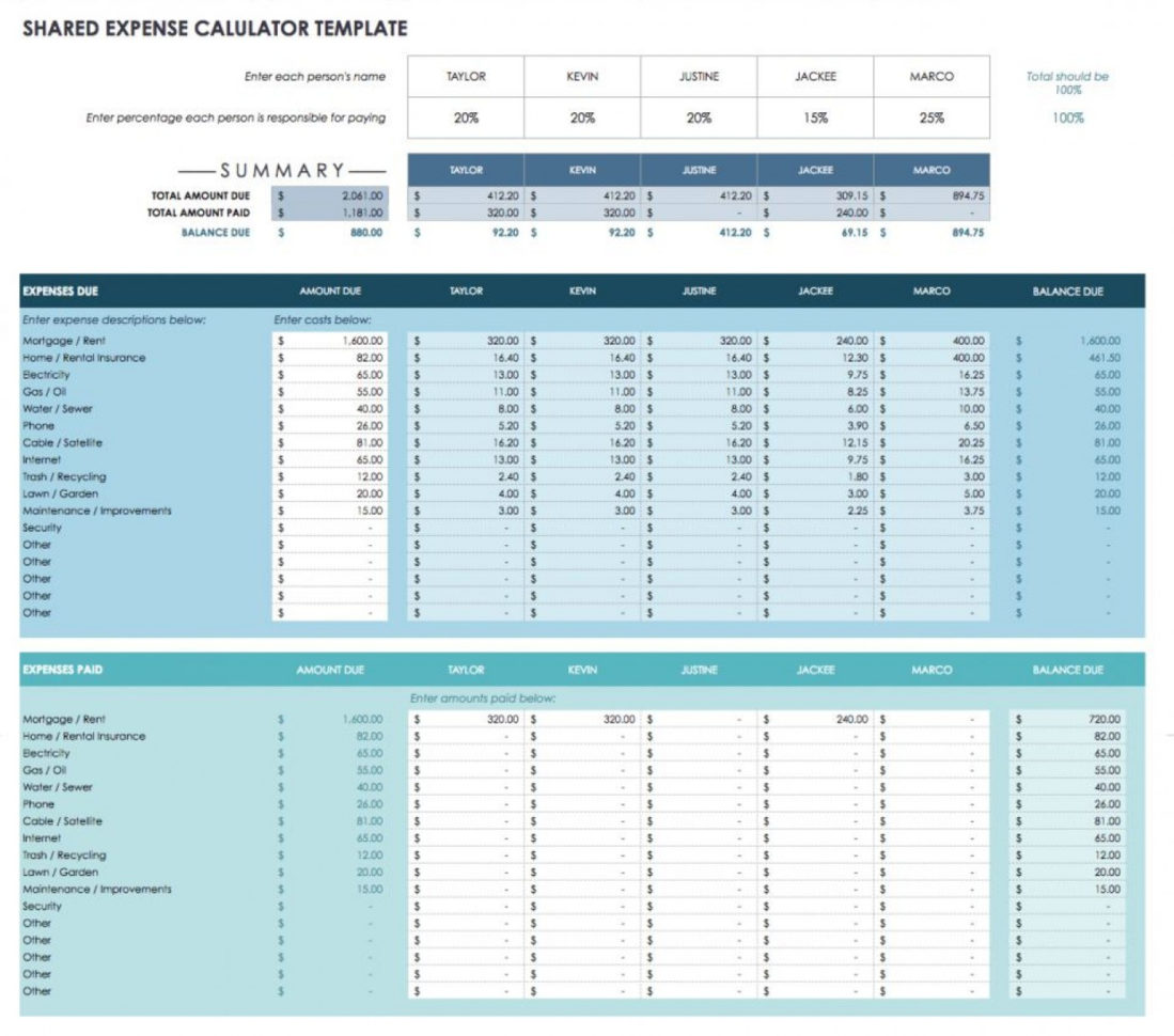 Shared Expenses Spreadsheet Template Within 006 Ic Google Spreadsheet Shared Expense Calculator