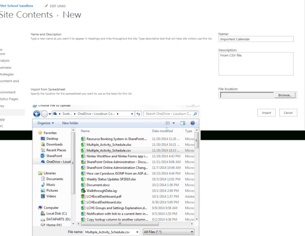 Sharepoint Spreadsheet With Importing An External Calendarcsv Into Sharepoint – Office 365