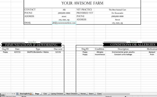 Sheep Record Keeping Spreadsheet Inside Animal Records Spreadsheet