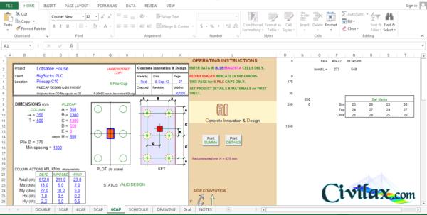 Sheet Pile Design Spreadsheet For Pile Cap Design Spreadsheet To Bs 8110:1997