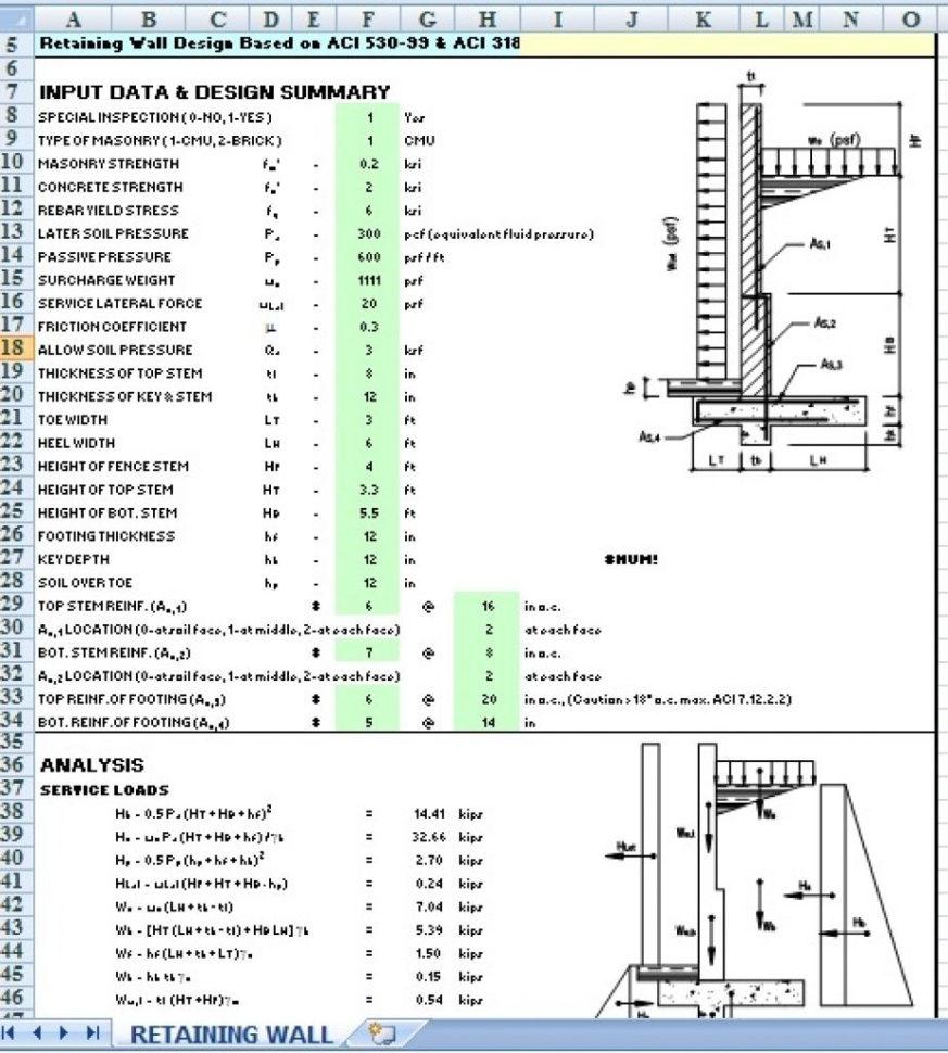 Sheet Pile Wall Design Spreadsheet In Civil Engineering Retaining Wall Designpreadsheet Example Of