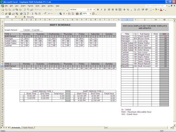 Shift Pattern Spreadsheet Inside Shift Schedules  Excel Templates