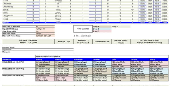 Shift Pattern Spreadsheet Pertaining To Employee Shift Schedule Generator  Excel Templates