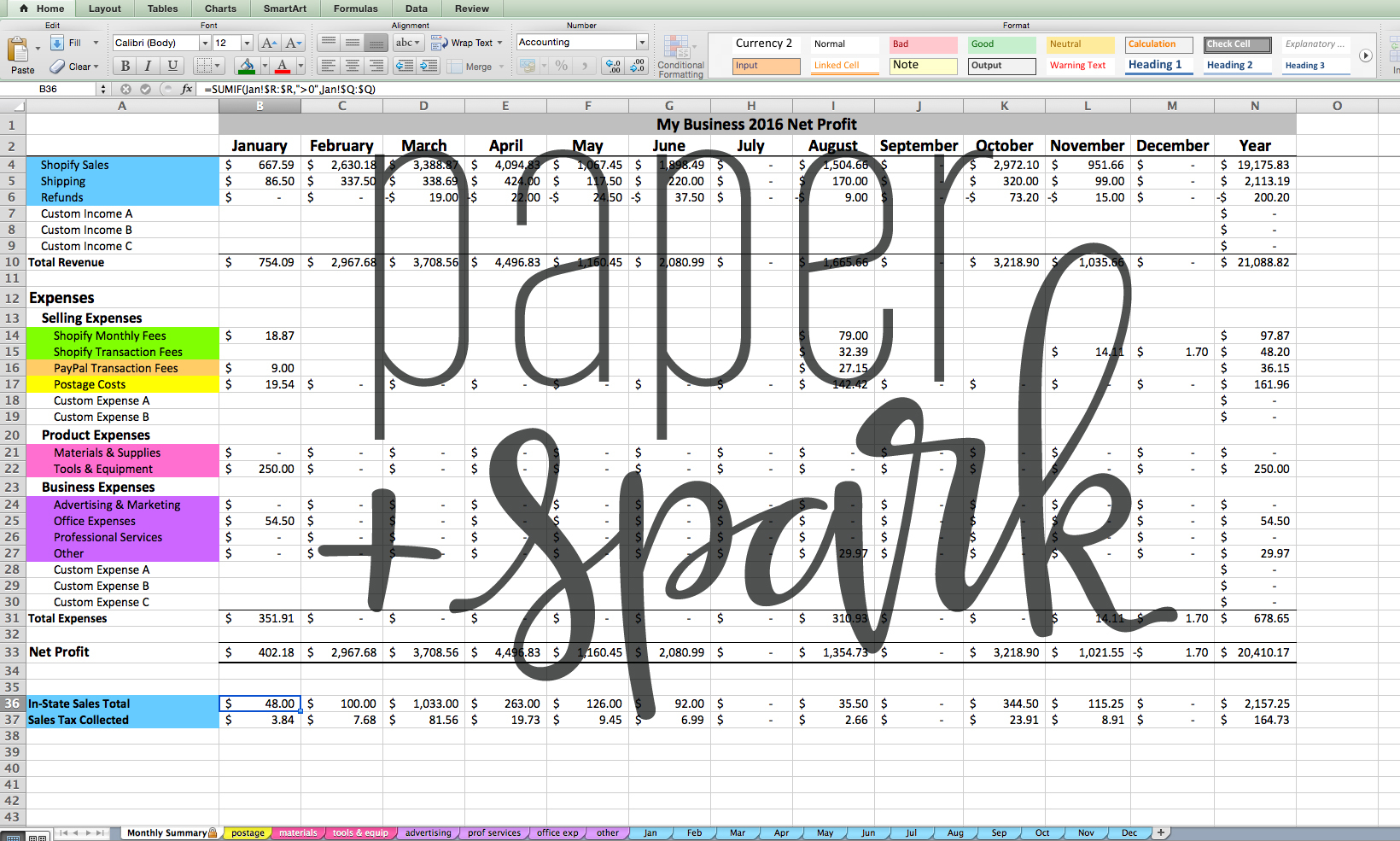 Shopify Spreadsheet With Regard To The Shopify Seller Spreadsheet  Paper + Spark