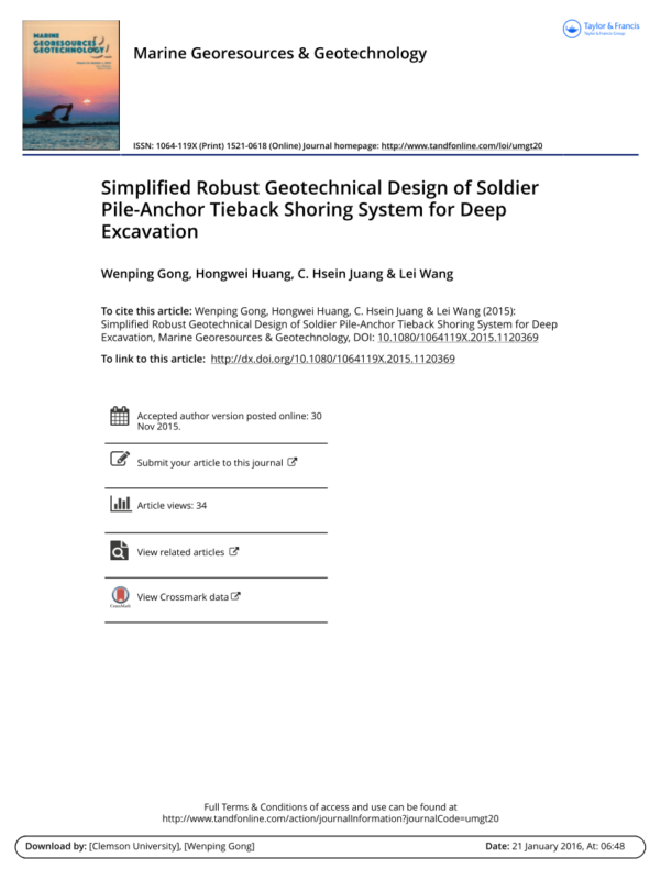 Shoring Design Spreadsheet Regarding Pdf Simplified Robust Geotechnical Design Of Soldier Pileanchor