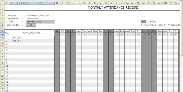 Sickness Absence Recording Spreadsheet Inside Attendance Calendar  Excel Templates