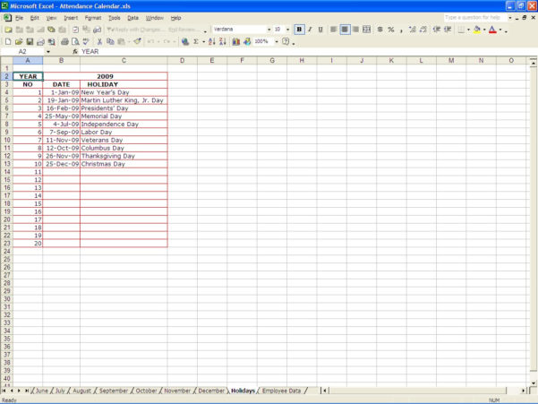 Sickness Absence Recording Spreadsheet Pertaining To Attendance Calendar  Excel Templates
