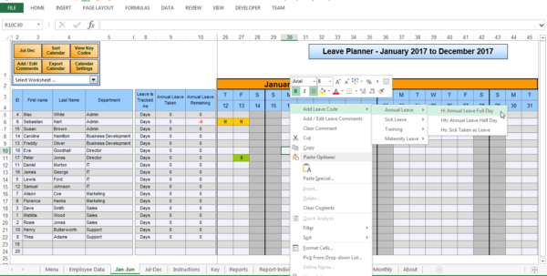 Simple Annual Leave Spreadsheet For The Staff Leave Calendar. A Simple Excel Planner To Manage Staff