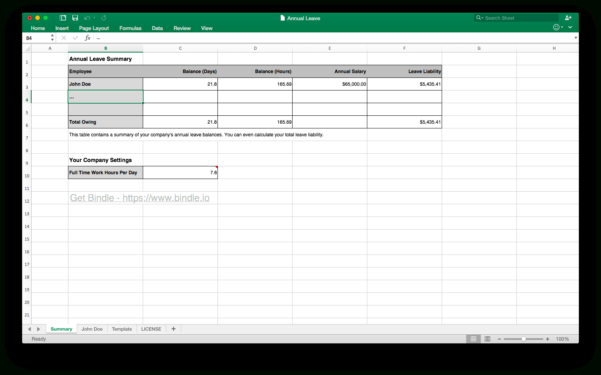 Simple Annual Leave Spreadsheet With Regard To Free Annual Leave Spreadsheet  Bindle