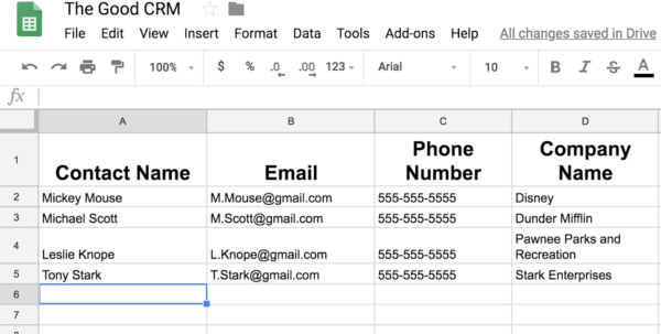 Simple Crm Spreadsheet With How To Use Google Sheets To Create Your Business' First Crm