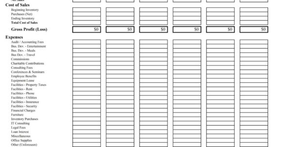 Simple Profit Loss Spreadsheet With Regard To Simple Profit Loss Statement Template Free And 10 Profit And Loss