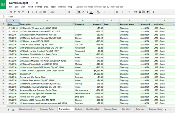 Sinking Fund Excel Spreadsheet Throughout Rockstar Review: Tiller A Way To Automate Your Budget Spreadsheets!